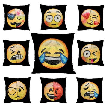 1pc Funny Emoji Cushion Cover Reversible Sequin Pillow Case Changing Pillowcase Decorative Pillowcase Home Decor Free shipping