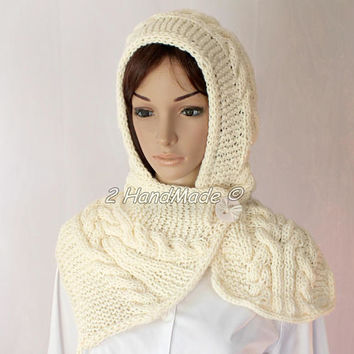 Hand Cable Knit Hooded Boho Style Scarf Acrylic Cream White Pom Pom Hat Hood  Chunky Hooded Cowl Winter Off White Handmade Eco Friendly