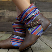 Timber Town Southwestern Tribal Ankle Boots
