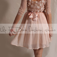 Short  romantic lace/3D Chiffon Flower Fabric whith Sequins  /dress /3/4 tulle  sleeves