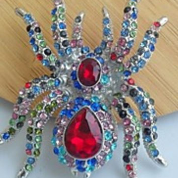 Unique 2.36 Inch Silver-tone Multicolor Rhinestone Crystal Spider Brooch Art Deco Halloween Jewelry