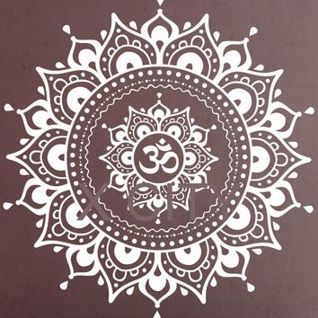 Mandala Pattern Big Wall Decal Vinyl Art Sticker Yoga Lotus Meditation Home Decor Mural Black White