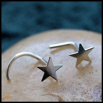 Hand Soldered Shining Sterling Star  - L or Screw End