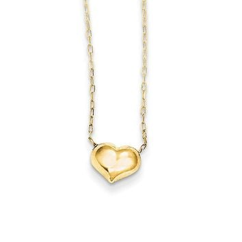 Children's Small Puffed Heart 16 Inch Necklace in 14k Yellow Gold