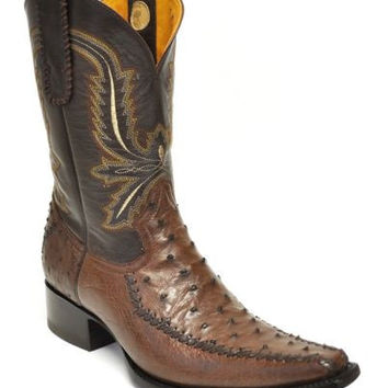 Gavel Men's Fashion Western Genuine Ostrich Handmade Cowboy Boots-Tabacco