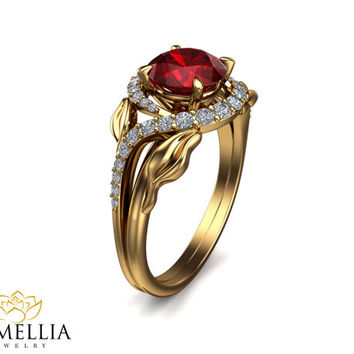 14K Yellow Gold Ruby Ring,Unique Engagement ring,Vine Ring,Leaf Rings,Fashion Rings,Gemstone Engagment Ring,Nature Inspired,Art Deco Ring.