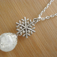 Snowflake White Winter Crackle Glass Marble Necklace