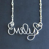 Custom Wire Name Necklace  on Luulla