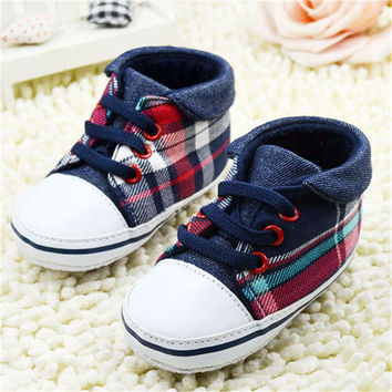 Cute Toddler Baby Boy Plaid Lace Up Soft Sole Shoes Infant Prewalker First Walkers Hot Selling