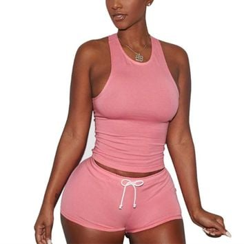 2017 Fashion Two Piece Outfits Tank Top And Shorts Summer Ladies Sleeveless Slim Fit Casual Vest Drawstring Shorts Women Sets