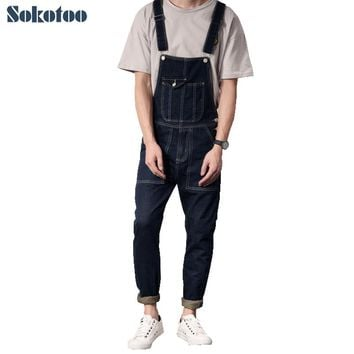 Sokotoo Men's casual slim denim bib overalls Pocket jumpsuits Vintage jeans