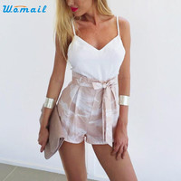 2017 Summer New Elegant V Neck Women Playsuits Sleeveless Rompers Jumpsuits Casual Beach Overall Amazing