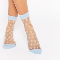 ASOS | ASOS Sheer Star Glitter Ankle Socks at ASOS