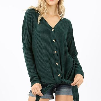 Brushed waffle long sleeve button down tie front sweater