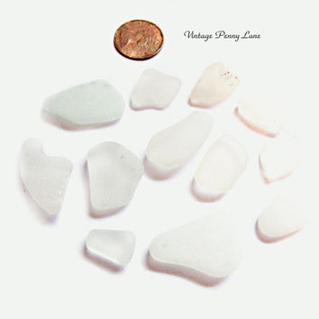 Lot of Sea Glass, Beach Glass, Frosted Clear / White