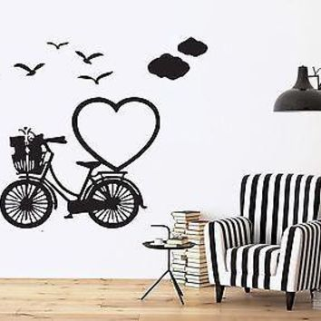 Wall Sticker Vinyl Decal Romantic Image for Lovers Heart Birds Clouds Unique Gift (n174)