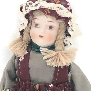 Vintage Porcelain Ornament Doll, Victorian China Doll, Tree Trimming Holiday Home Decor