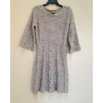 Style & co Petite 3/4 Sleeves Marled Cable Knit Sweater Dress 34388 PM