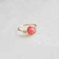 Pink Coral Ring - unique rings - wire wrapped ring - bohemian jewelry