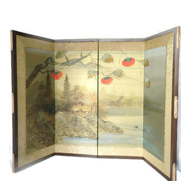 Vintage Asian Four Panel Silk Screen Hand Painted Mountains Cabin, Folding Table Top Screen Art Piece, Asian Fabric Art, Signed