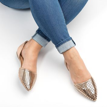 Perforated Leather D'Orsay Flat