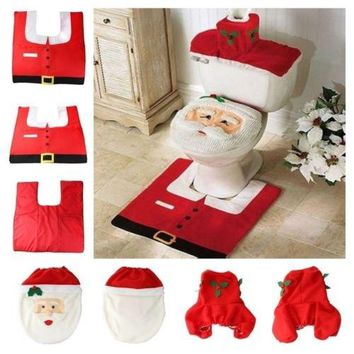 Household  Christmas  Santa Claus Cloth Toilet  Foot Pad Cover Toilet Seat Cover Radiator Cap Cover Decorations Bathroom Set