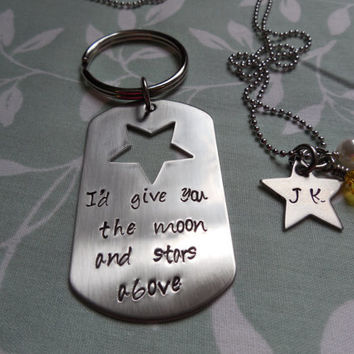 Key Chain/Necklace Set dog tag and star with birth month/white pearl charm- I'd give you the moon and stars above