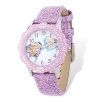 Disney Frozen Anna/Elsa Lilac Sparkle Leather Tween Watch