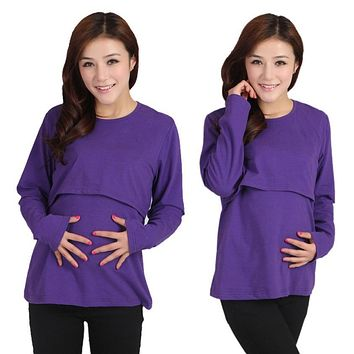 Maternity Nursing Top Clothing for Feeding Velvet Warm Breastfeeding Tops Clothes Long Sleeved Breast #2458