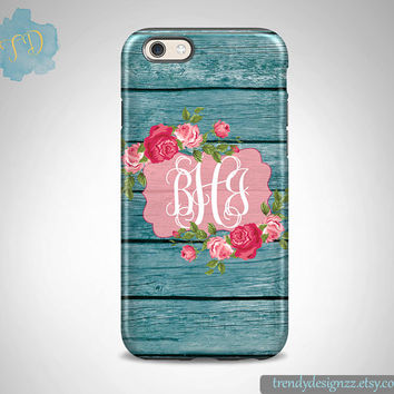 iPhone case, Personalized iPhone case, iPhone 6 case iPhone 6 plus Monogram Samsung S6 Edge S5 S4 case, Faux Teal Blue Wood Flowers (17)