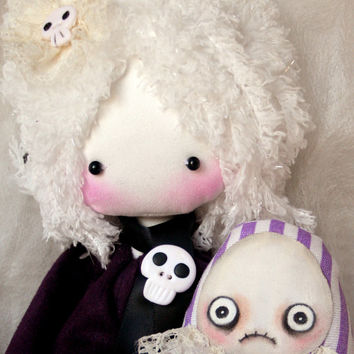 MarieAntoinette handmade gothic cloth doll with skulls and monster friend OOAK