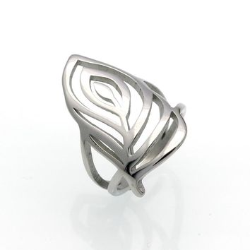New Women Stainless Steel Ring Hollow Leaf Design Gold Color Rings For Party Wedding Fashion Female Jewelry