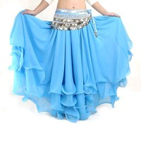 BellyLady Belly Dance Tribal Chiffon Tiered Maxi Skirt, Christmas Gift Idea