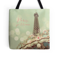 Paris Tote Bag, Eiffel Tower, Pale Blue, Pastel, Carousel, Travel Bag, Sweet, Candy Colored, Dreamy, France, French Tote, Pink, Parisian Bag