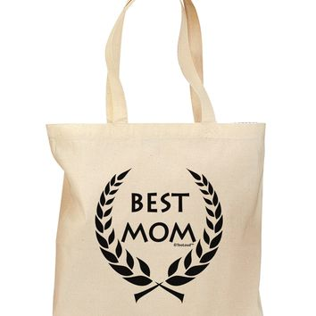 Best Mom - Wreath Design Grocery Tote Bag by TooLoud