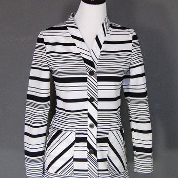 Vintage Cardigan / Black and White Stripes / Pockets / 1970's