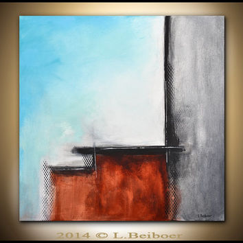 Abstract painting original large square painting 30x30 gray blue abstract raw modern contemporary art by L.Beiboer