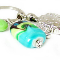 Sea Turtle Keychain, Seaturtle Key Chain, Caribbean Keychain, Beach Keychain, Car Accessory, Tropical Keyring, Green and Blue Keychain
