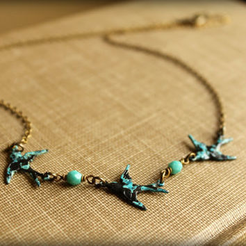 Three Speckled Bluebirds Necklace by saffronandsaege on Etsy