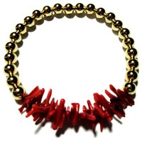 Goldfilled beads and Coral  bracelet | Decenarioscool - Jewelry on ArtFire
