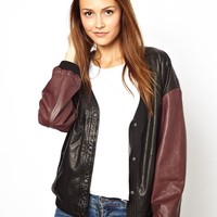 HIDE Exclusive to ASOS Sanna Bomber Jacket with Contrast Sleeves
