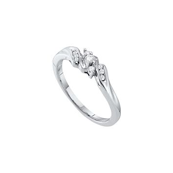 10k White Gold Round Diamond 3-stone Womens Bridal Wedding Engagement Promise Ring Slender 1/10 Cttw