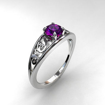0.70ct Amethyst ring engagement ring, filigree, purple engagement, solitaire ring, amethyst wedidng ring, unique, vintage style