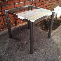 milo baughman chrome with glass top mid century end square side table