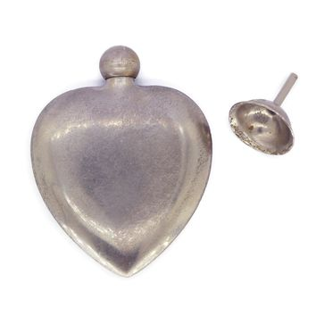 French Sterling Heart Perfume bottle and Funnel