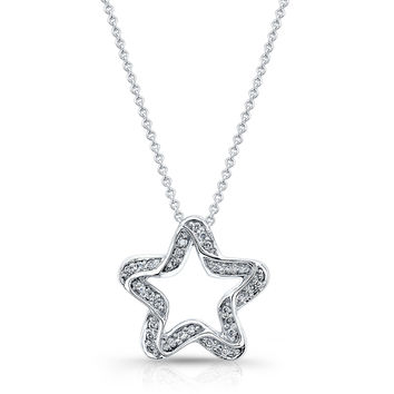 "Women's 18kt white gold diamond star pendant 0.25 ctw G color VS2 clarity diamonds with 16"" white gold chain"