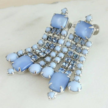 Vintage Blue Moon Glow Crystal Rhinestone Chandelier Screwback Earrings - Art Deco / Retro / Gift / Stunning / Dangle