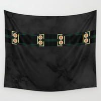 Black Gold Green Marble Mandala Abstract Wall Tapestry by Sheila Wenzel