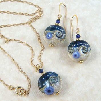 Surf on the Moon ---  Lampwork Necklace and Earrings Set