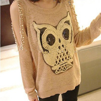 Owl Open Shoulder Sweater